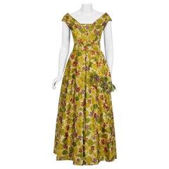 1950 Lanvin Castillo Haute Couture Watercolor Floral Silk Print Belted Sash Gown