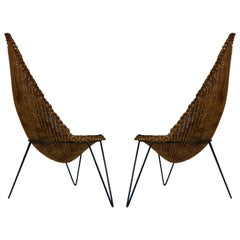1950 Large and Rare Pair of Rattan Armchairs Attributed to Mathieu Matégot