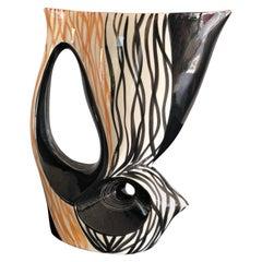 1950 Large Ceramic Vase with Double-Sided Decoration