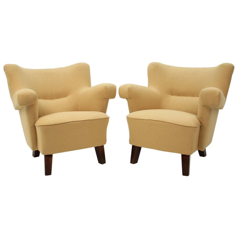 1950 Large Lounge Chair, Czechoslovakia For Sale