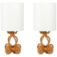 1950, Large Pair of Adrien Audoux & Frida Minet Rope Lamp