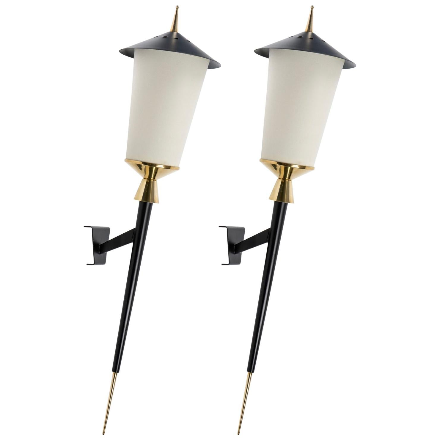 "1950 Large Pair of ""Lanterns"" Wall Lights Maison Arlus, 1950"