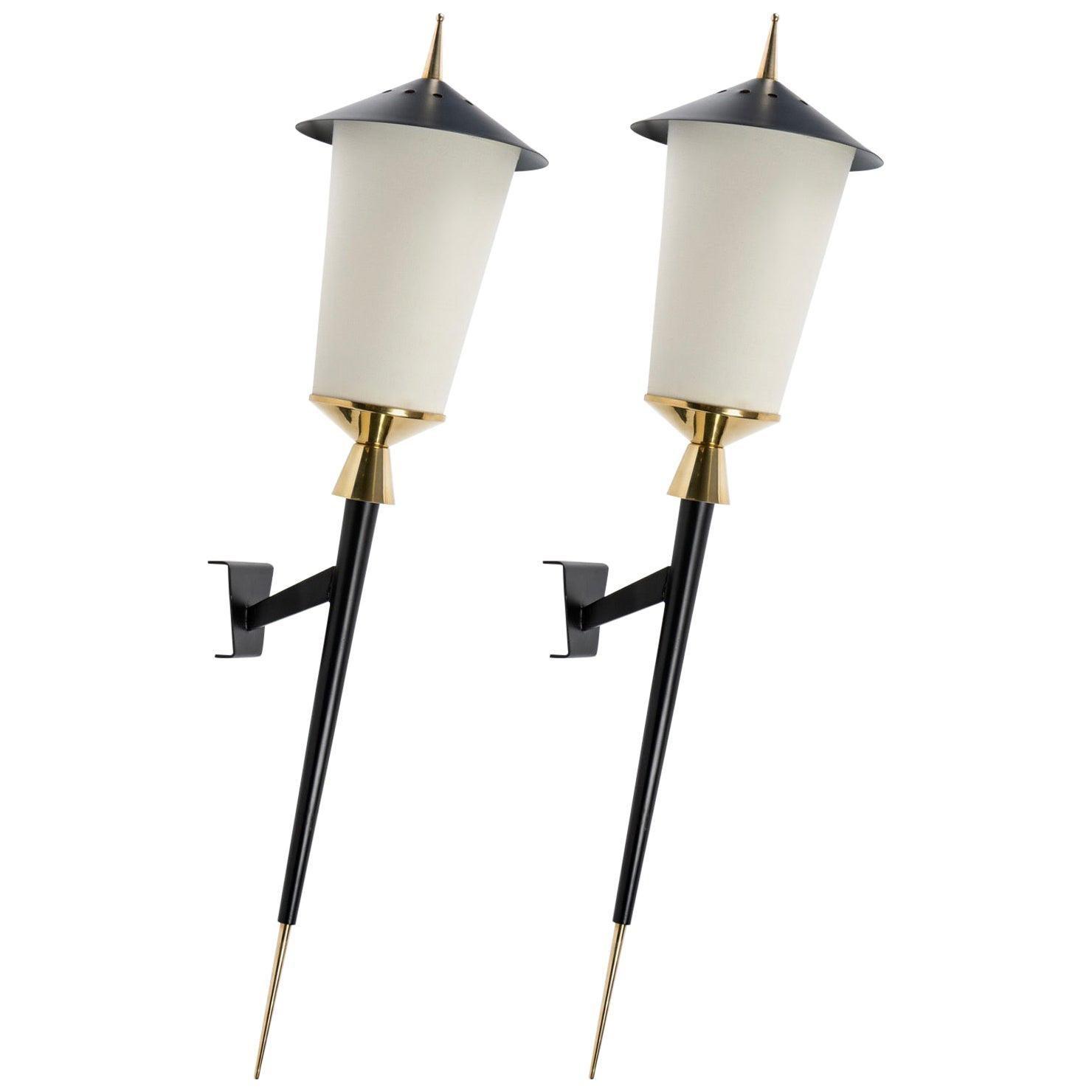 """1950 Large Pair of """"Lanterns"""" Wall Lights Maison Arlus, 1950"""