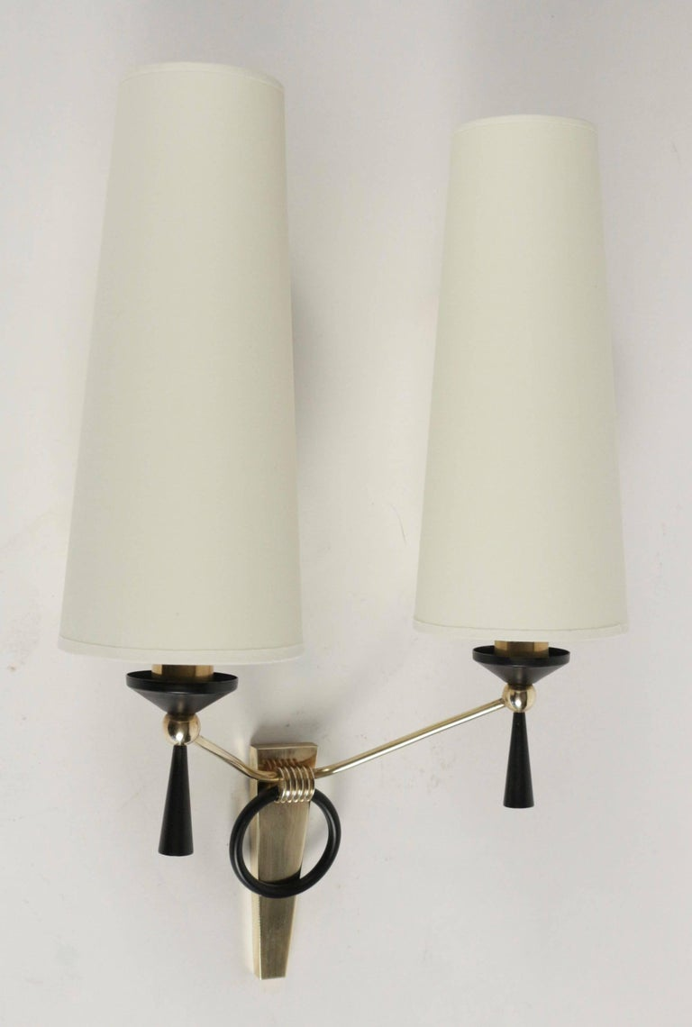 1950 Large Pair of Maison Arlus Wall Lights In Good Condition For Sale In Saint-Ouen, FR