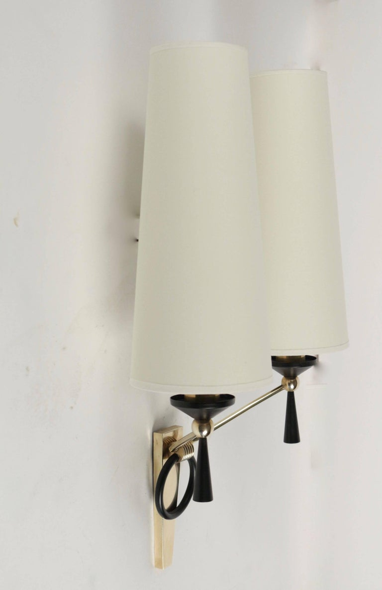 Mid-20th Century 1950 Large Pair of Maison Arlus Wall Lights For Sale