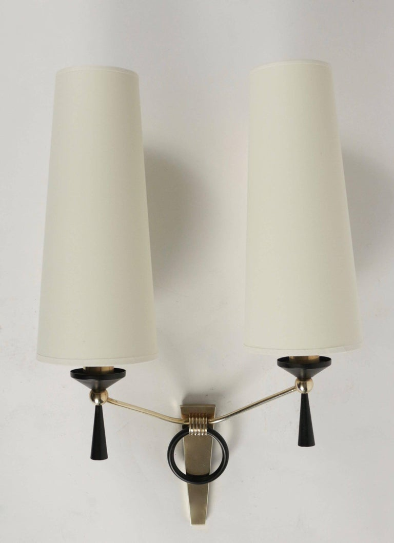Brass 1950 Large Pair of Maison Arlus Wall Lights For Sale