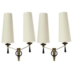 1950 Large Pair of Maison Arlus Wall Lights