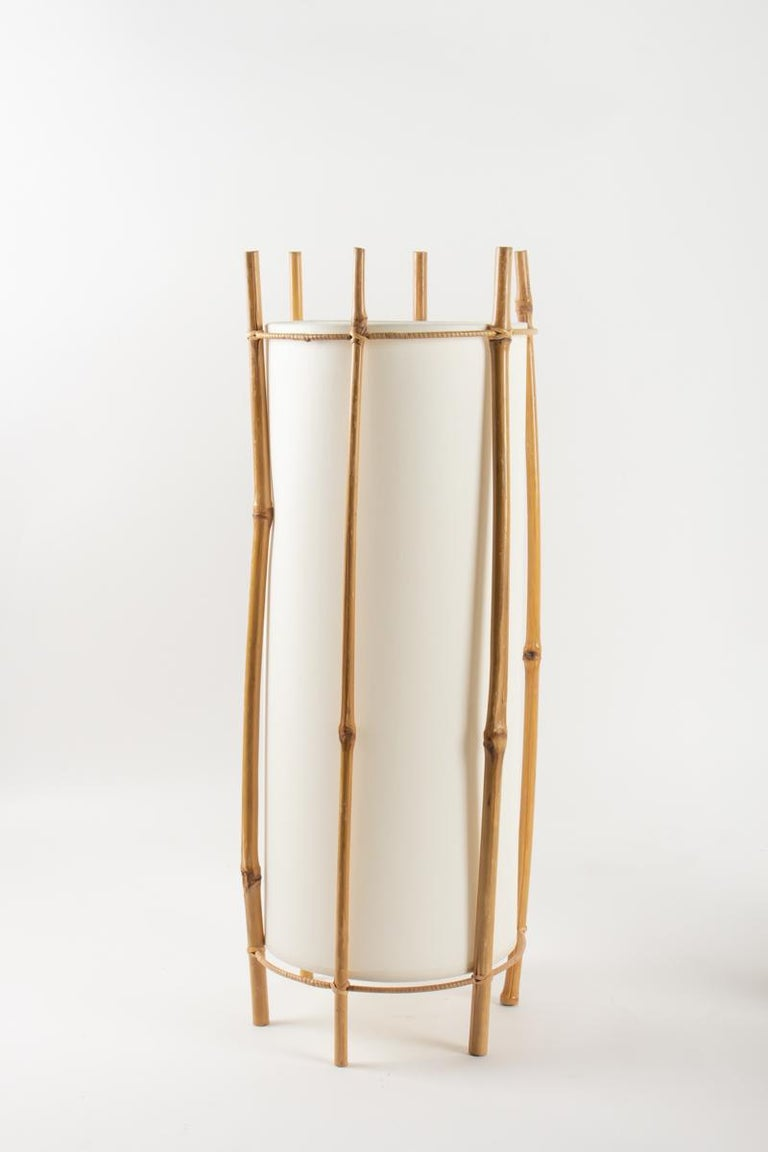 Bamboo 1950 Large Pair of Table Lamps Louis Sognot For Sale