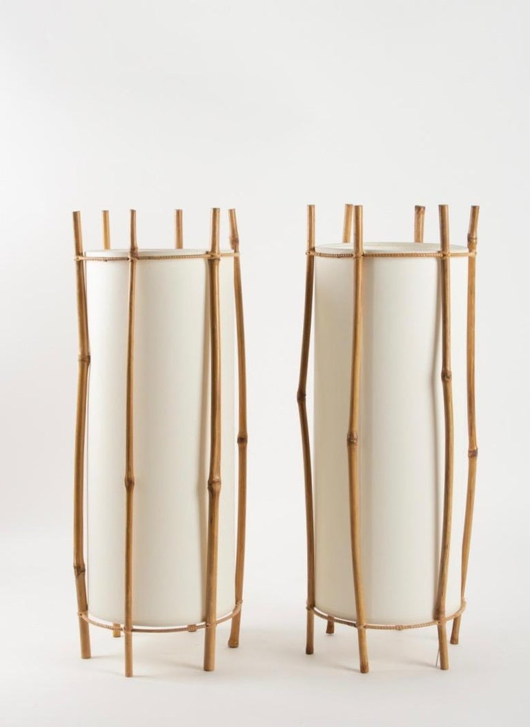 1950 Large Pair of Table Lamps Louis Sognot For Sale 1