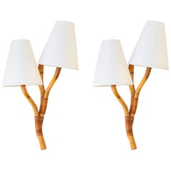 "1950 Large Pair of Wall Lights, ""Branchage"" Model in Bamboo by Louis Sognot"