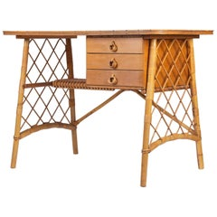 1950 Louis Sognot Rattan and Bamboo Desk