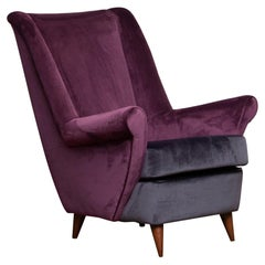1950 Lounge / Easy Chair in Magenta by Designed Gio Ponti for ISA Bergamo, Italy