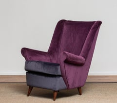 1950 Lounge / Easy Chair In Magenta By Designed Gio Ponti For ISA Bergamo Italy.