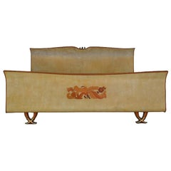 1950 Mahogany Parchment Bed and Marquetry by Paolo Buffa