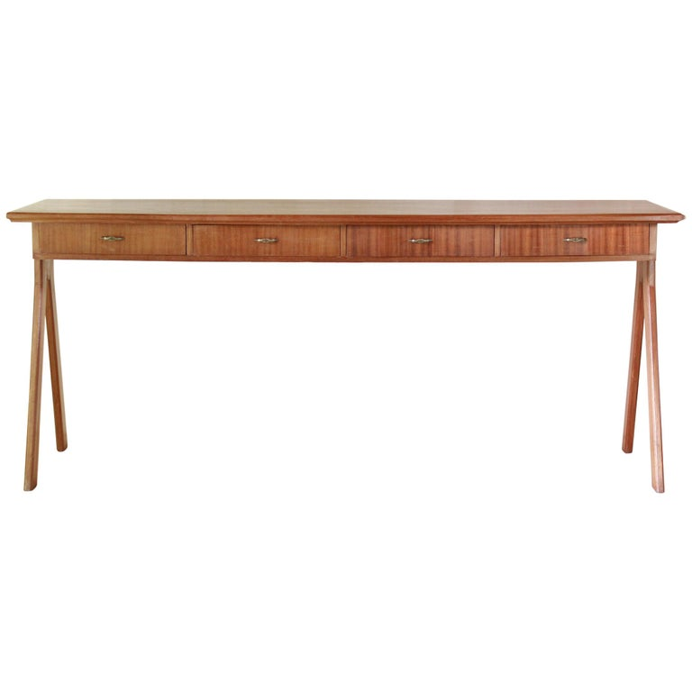 1950 Mahogany Vintage Console Table For Sale