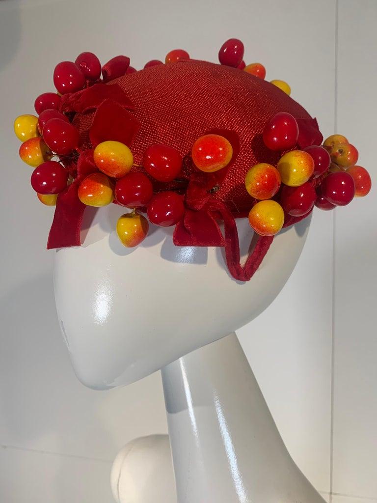 Gray 1950 Merten Cherry Blushed Fruit & Red Straw Hat W/Velvet Bows