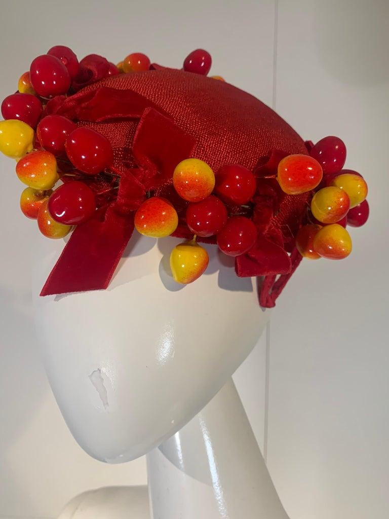 Women's 1950 Merten Cherry Blushed Fruit & Red Straw Hat W/Velvet Bows