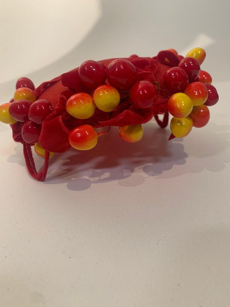 1950 Merten Cherry Blushed Fruit & Red Straw Hat W/Velvet Bows