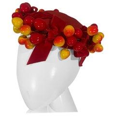 "1950 Merten Cherry Blushed Fruit & Red Straw Hat W/Velvet Bows ""Delicious"""