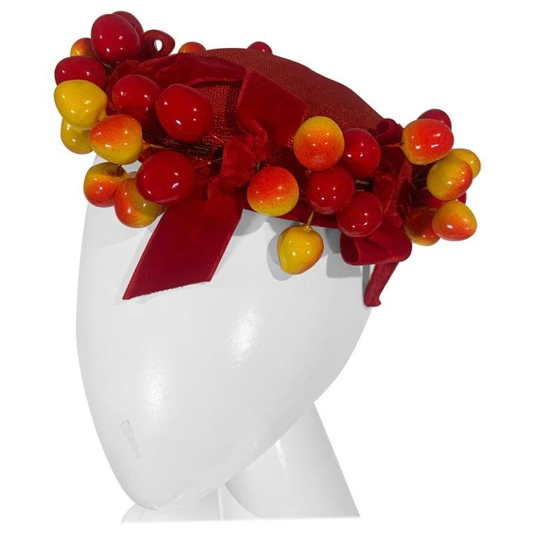 "1950 Merten Cherry Blushed Fruit & Red Straw Hat W/Velvet Bows ""Delicious"" For Sale"