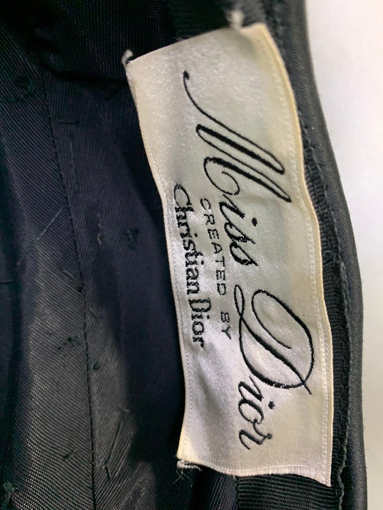 1950 Miss Dior Created By Christian Dior Black Satin Jet Beaded Cloche For Sale 7