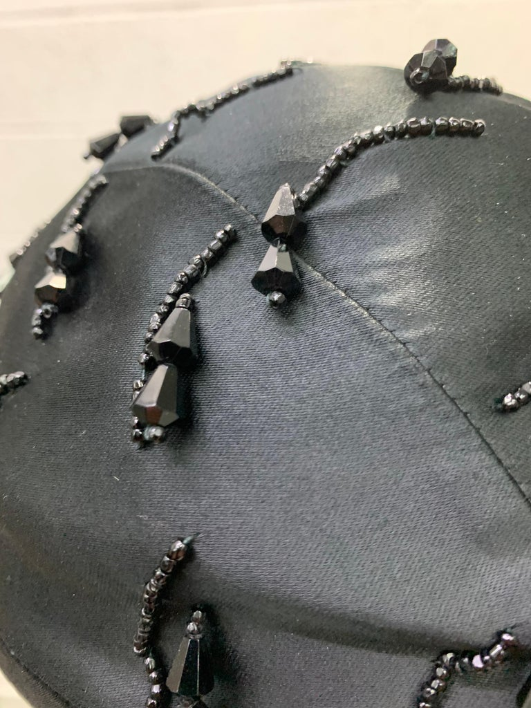 1950 Miss Dior Created By Christian Dior Black Satin Jet Beaded Cloche In Excellent Condition For Sale In San Francisco, CA