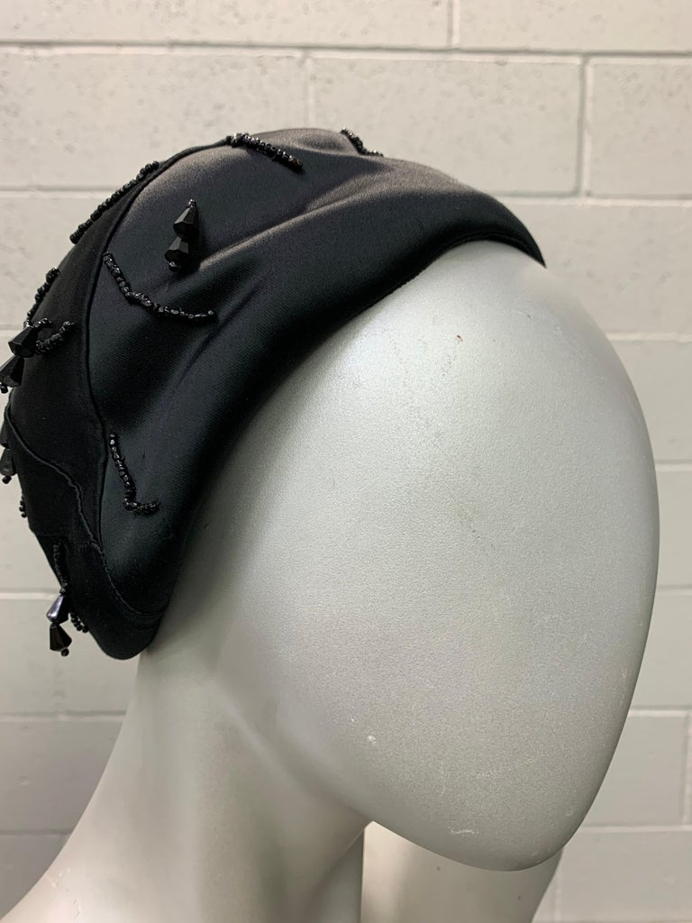 Women's 1950 Miss Dior Created By Christian Dior Black Satin Jet Beaded Cloche For Sale