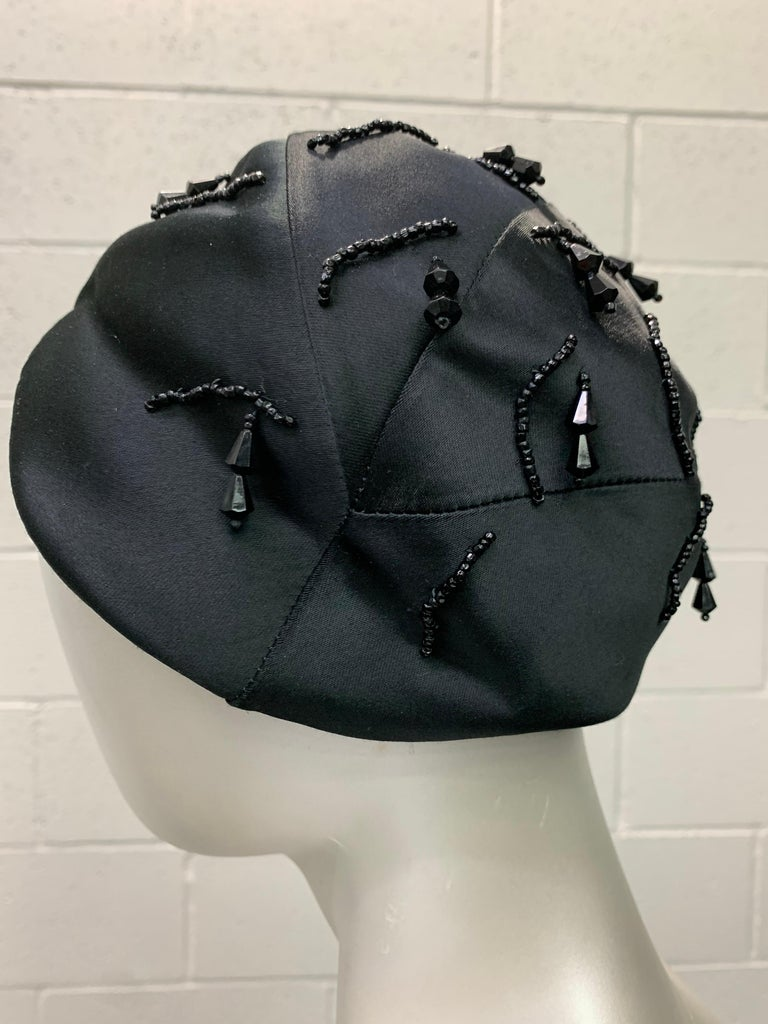 1950 Miss Dior Created By Christian Dior Black Satin Jet Beaded Cloche For Sale 2