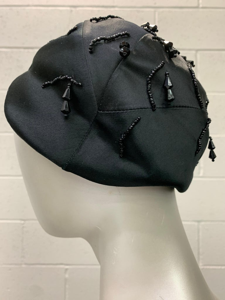 1950 Miss Dior Created By Christian Dior Black Satin Jet Beaded Cloche For Sale 4