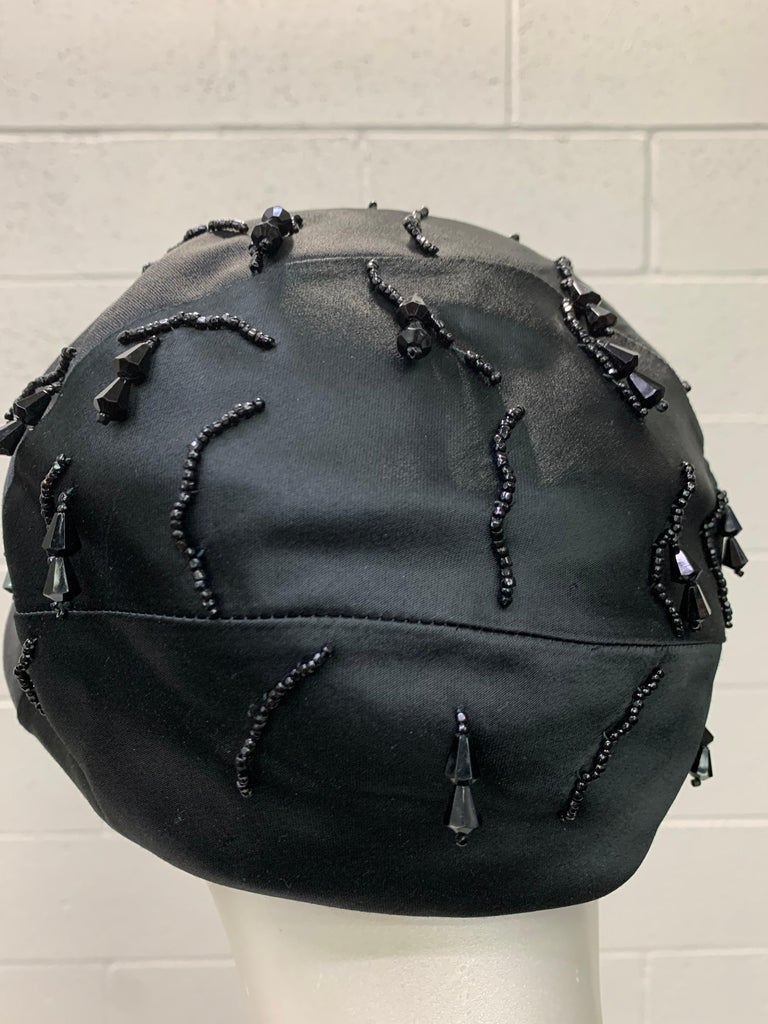 1950 Miss Dior Created By Christian Dior Black Satin Jet Beaded Cloche For Sale 5