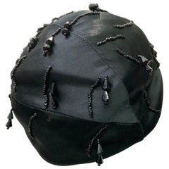1950 Miss Dior Created By Christian Dior Black Satin Jet Beaded Cloche