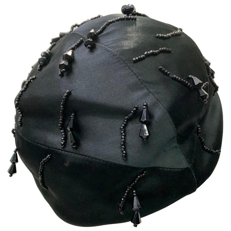 1950 Miss Dior Created By Christian Dior Black Satin Jet Beaded Cloche For Sale