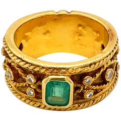 1950 Natural Colombian Emerald Diamond Gold Band Ring