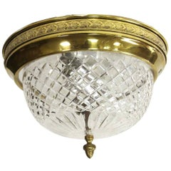 1950 NYC Waldorf Astoria Hotel Cut Crystal Flush Mount with Decorative Brass Rim