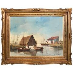1950 Oil on Canvas, The lagoon, Valencia, Spain Signed C.Lopez