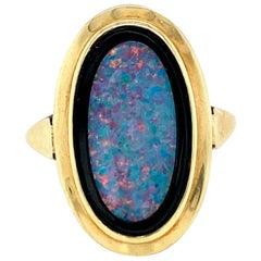 1950 Opal Onyx Gold Ring