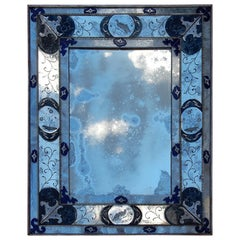 1950 'Oxidized Venetian Mirror And Aged With Birds In The Style Louis 14