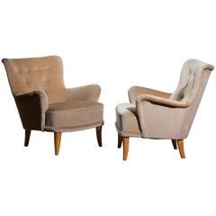 1950, Pair Beige Velvet Lounge Chairs by Carl Malmsten for O.H. Sjögren Sweden