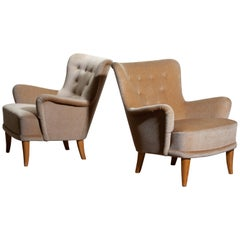 1950, Beige Velvet Lounge Chairs by Carl Malmsten for O.H. Sjögren Sweden, Pair
