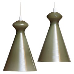 1950 Pair Glass Pendants in Olive Green by Maria Lindeman for Idman Oy Finland
