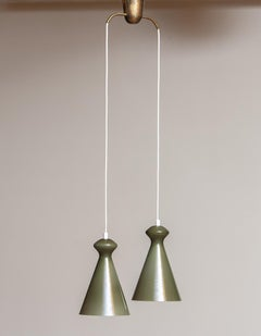 1950 Pair Glass Pendants in Olive Green by Maria Lindeman for Idman Oy, Finland