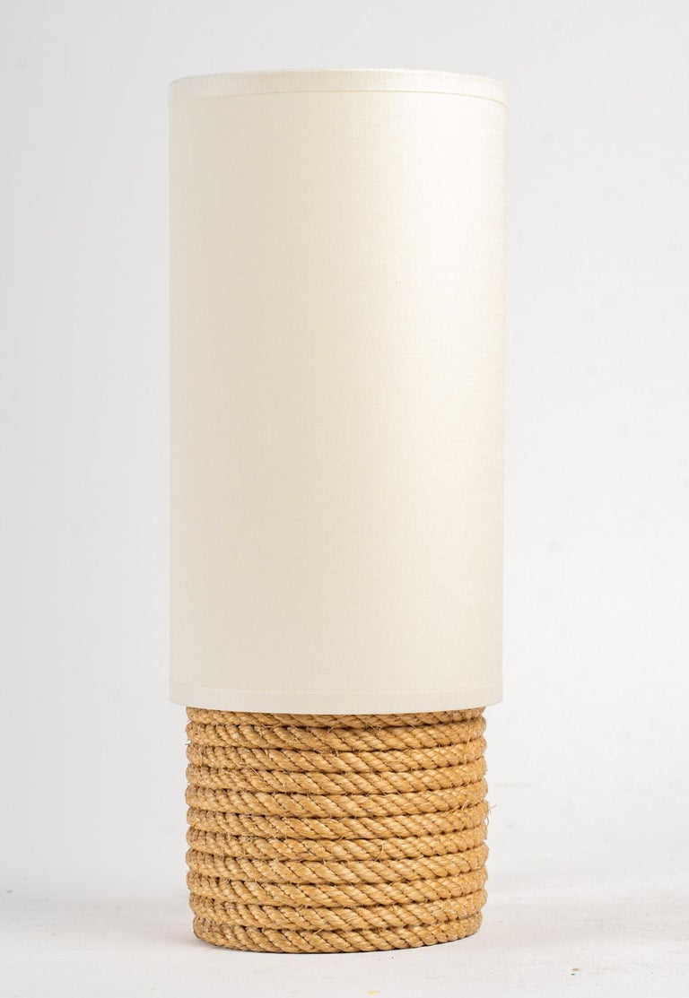 1950, Pair of Adrien Audoux & Frida Minet Rope Lamps For Sale 1