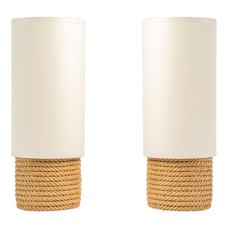 1950, Pair of Adrien Audoux & Frida Minet Rope Lamps For Sale