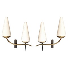 1950 Pair of Assymetrical Sconces by the Maison Arlus