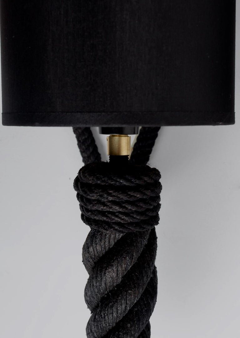 French 1950 Pair of Audoux Minet Rope Wall Lights For Sale