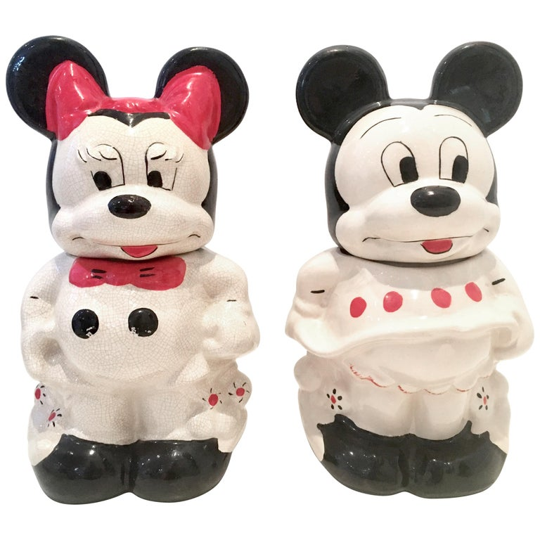 1950 S Pair Of Ceramic Mickey Minnie Mouse Turnabout Cookie Jars