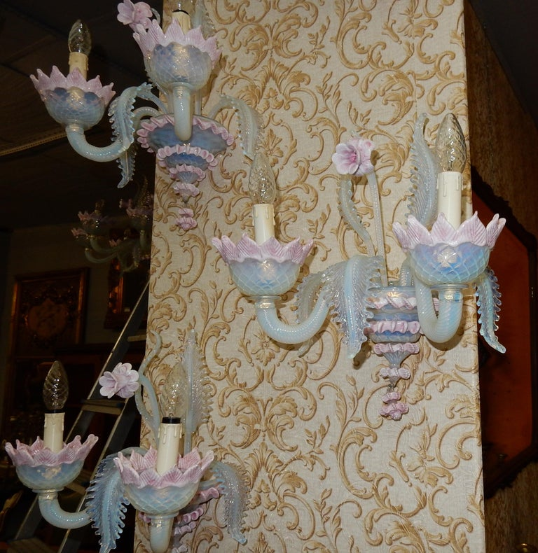 1950 Pair of Chandeliers Murano Blue Opalescent Color 8 Lights 4 Sconces For Sale 6