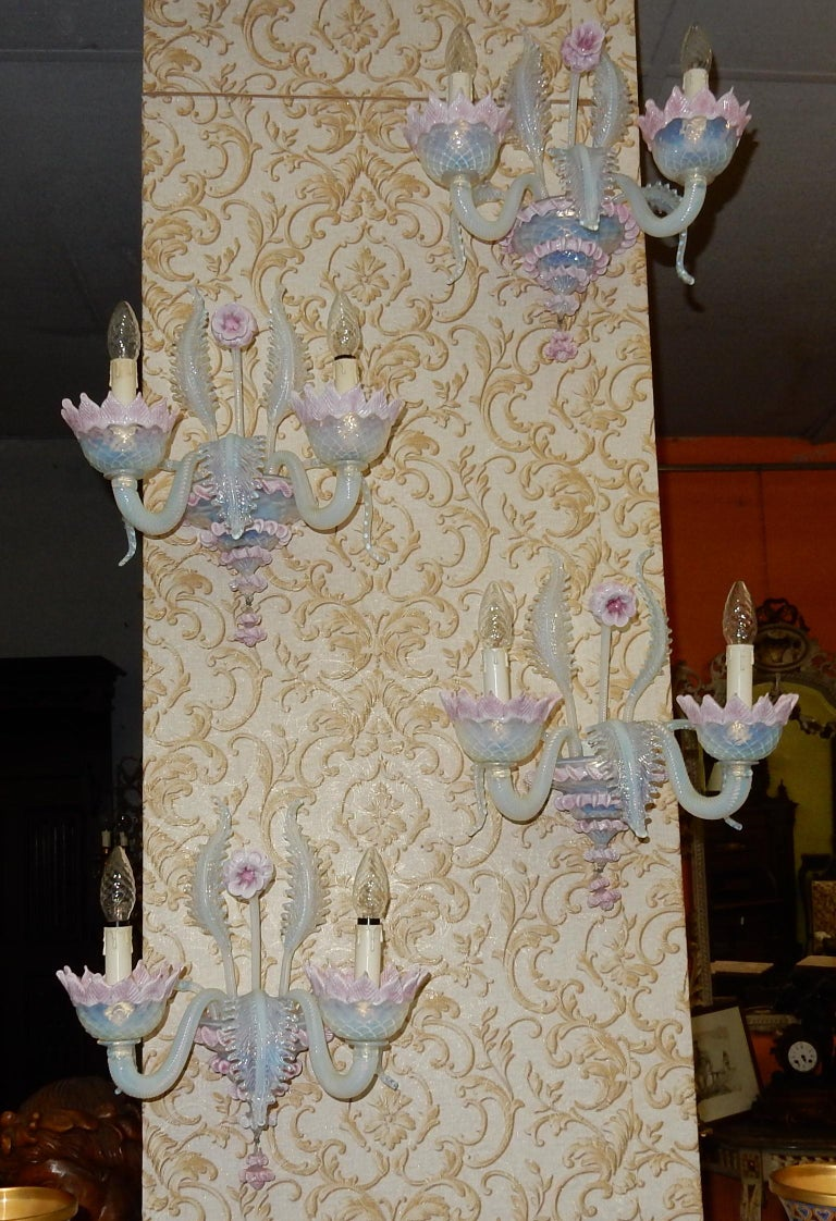 1950 Pair of Chandeliers Murano Blue Opalescent Color 8 Lights 4 Sconces For Sale 12