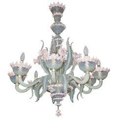 1950 Pair of Chandeliers Murano Blue Opalescent Color 8 Lights 4 Sconces