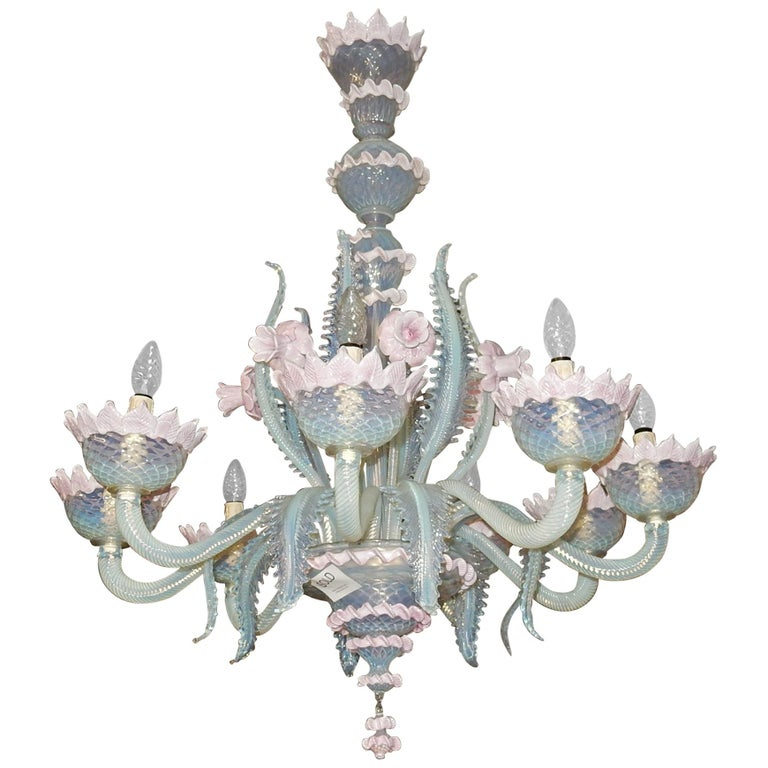 1950 Pair of Chandeliers Murano Blue Opalescent Color 8 Lights 4 Sconces For Sale